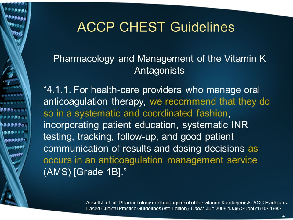 ACCP CHEST Guidelines Pharmacology and Management of the Vitamin K Antagonists 4.1.1.