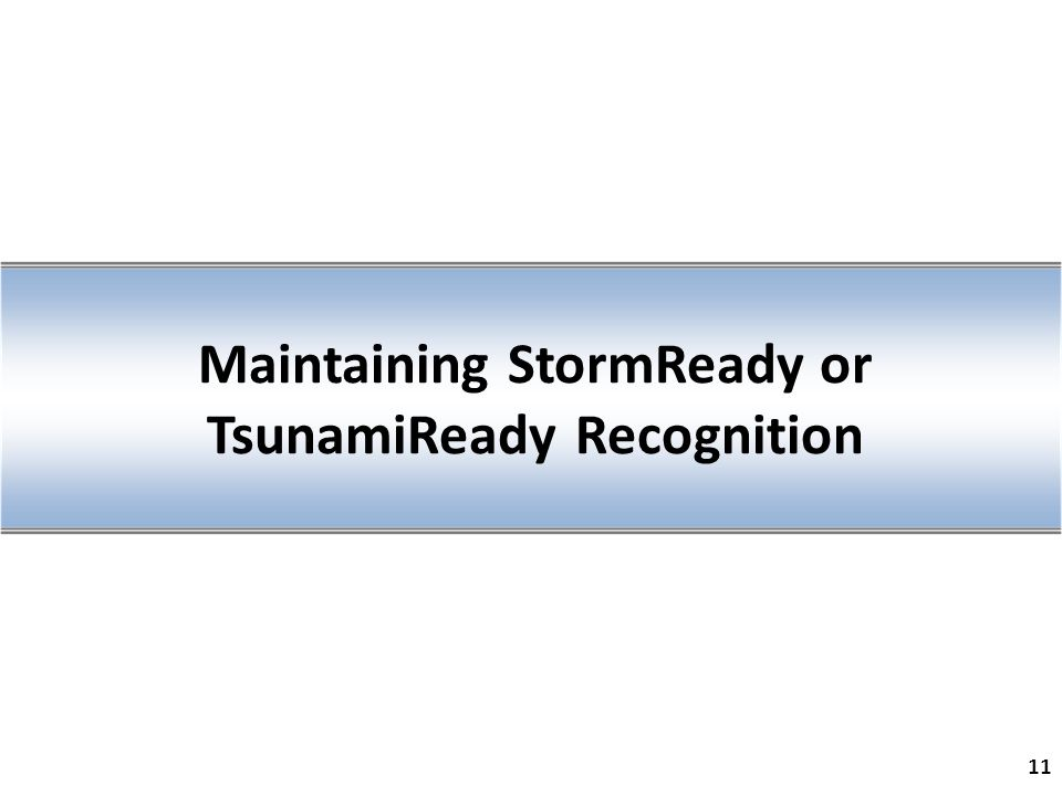 Maintaining StormReady or TsunamiReady Recognition 11