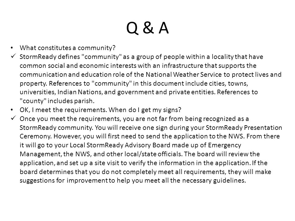 Q & A What constitutes a community.
