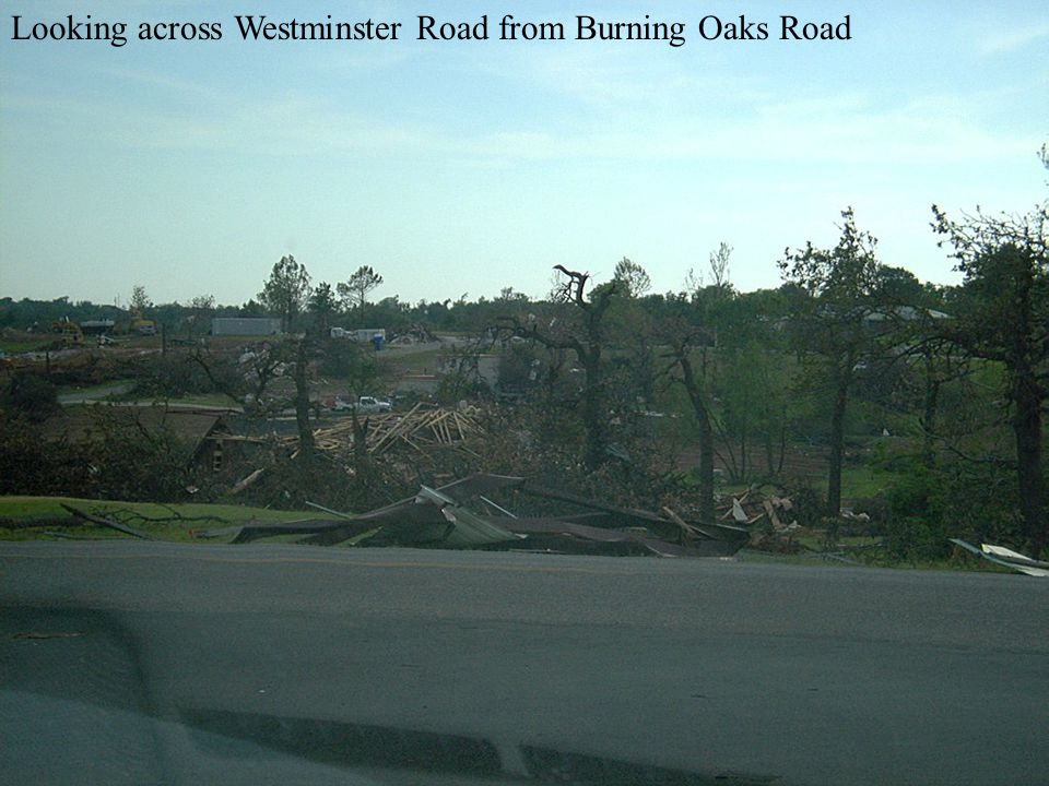 Looking across Westminster Road from Burning Oaks Road