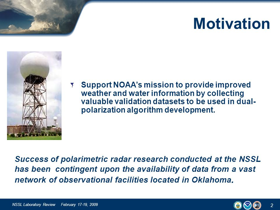 2 NSSL Laboratory Review February 17-19, 2009 Motivation Success of polarimetric radar research conducted at the NSSL has been contingent upon the ava