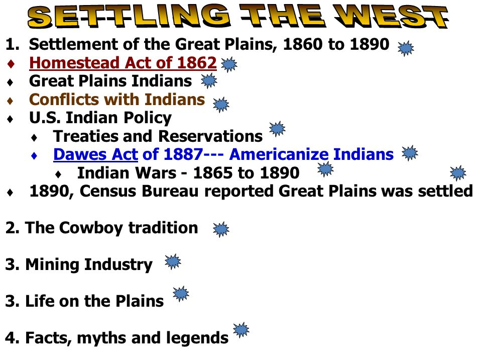 1.Settlement of the Great Plains, 1860 to 1890  Homestead Act of 1862  Great Plains Indians  Conflicts with Indians  U.S. Indian Policy  Treaties
