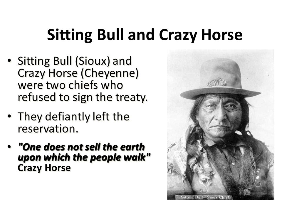 Sitting Bull and Crazy Horse Sitting Bull (Sioux) and Crazy Horse (Cheyenne) were two chiefs who refused to sign the treaty. They defiantly left the r