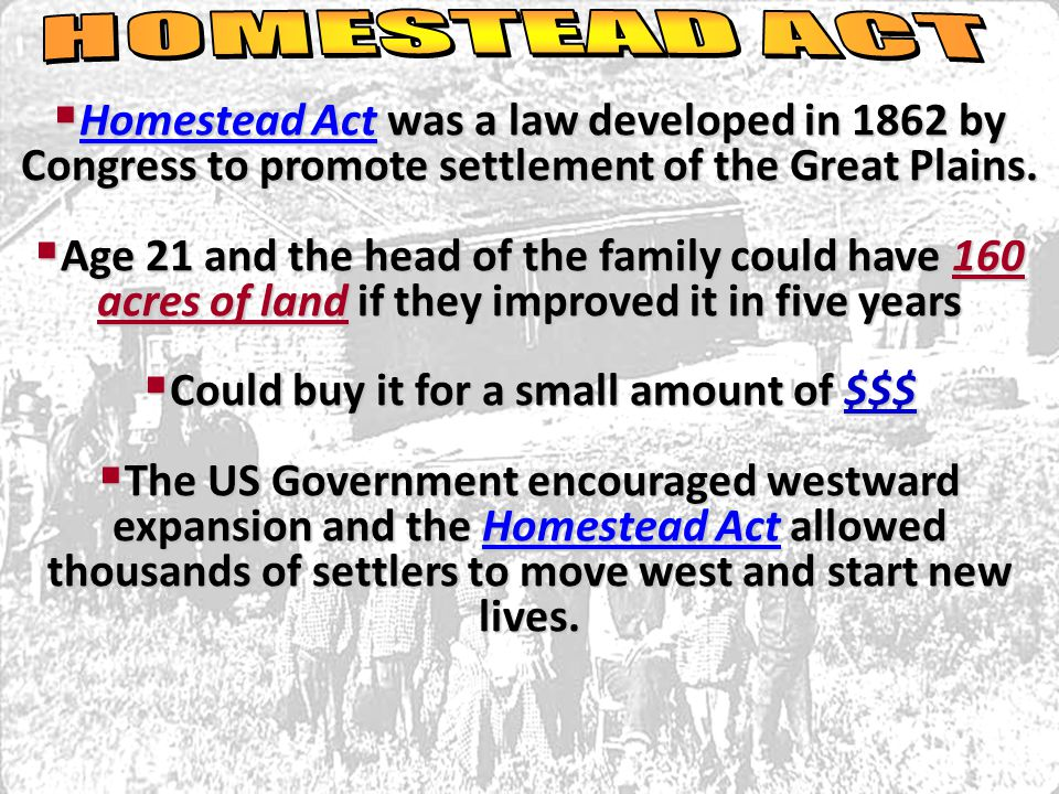  Homestead Act was a law developed in 1862 by Congress to promote settlement of the Great Plains.  Age 21 and the head of the family could have 160
