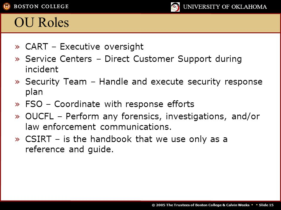 © 2005 The Trustees of Boston College & Calvin Weeks   Slide 15 UNIVERSITY OF OKLAHOMA OU Roles »CART – Executive oversight »Service Centers – Direct Customer Support during incident »Security Team – Handle and execute security response plan »FSO – Coordinate with response efforts »OUCFL – Perform any forensics, investigations, and/or law enforcement communications.