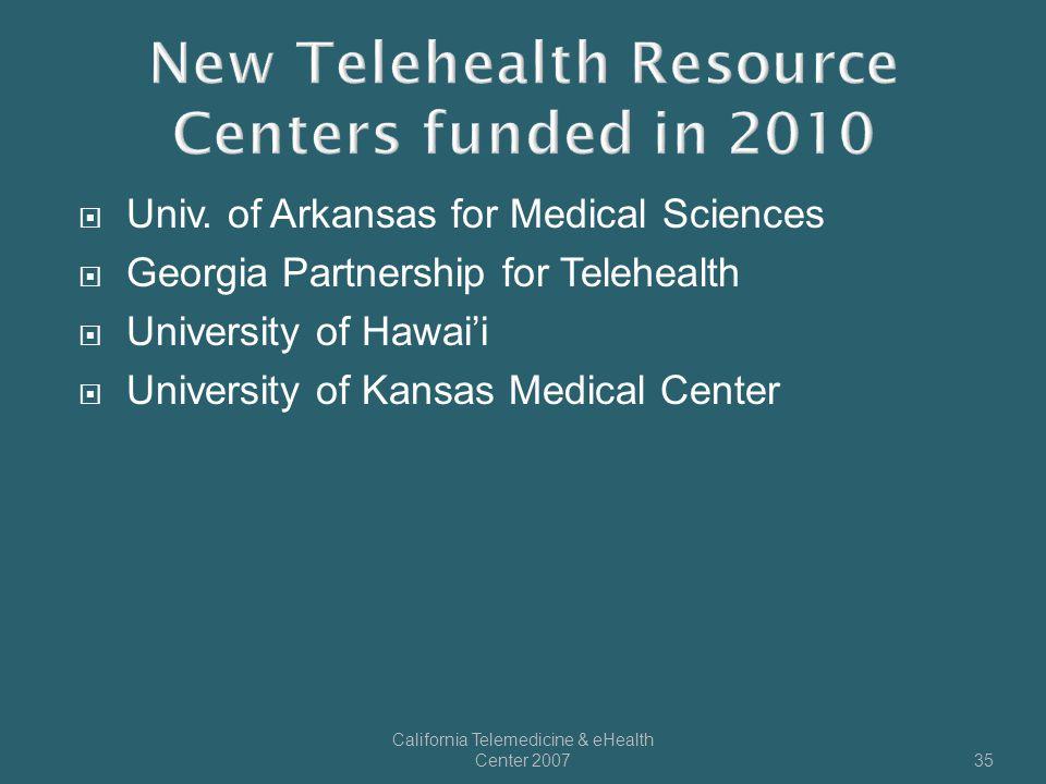  Univ. of Arkansas for Medical Sciences  Georgia Partnership for Telehealth  University of Hawai'i  University of Kansas Medical Center California
