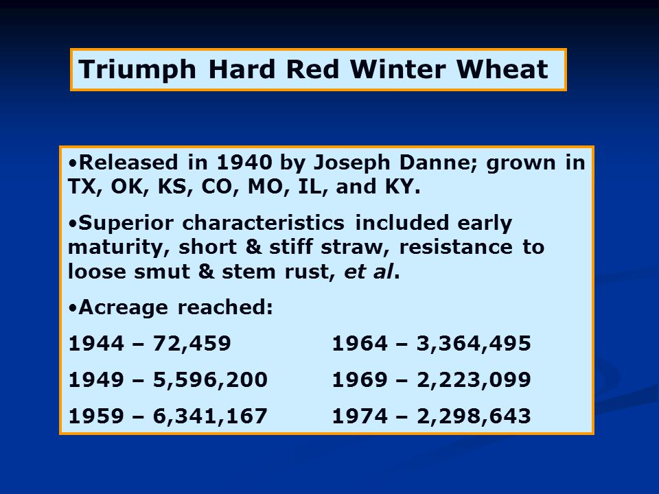 Triumph Hard Red Winter Wheat Released in 1940 by Joseph Danne; grown in TX, OK, KS, CO, MO, IL, and KY. Superior characteristics included early matur