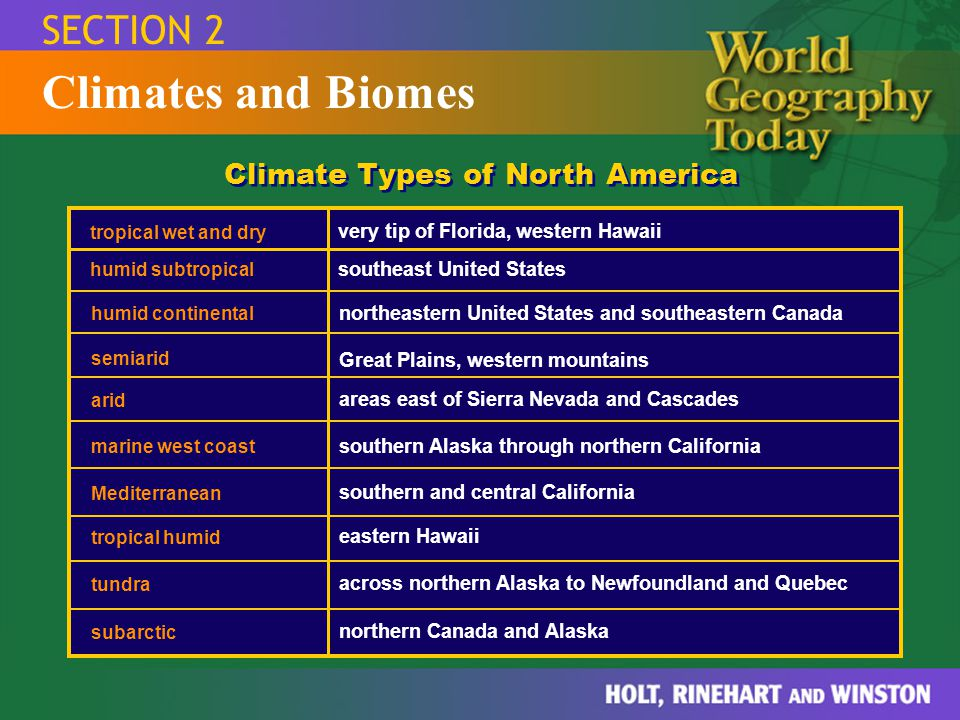 SECTION 2 Climates and Biomes Climate Types of North America tropical wet and dry very tip of Florida, western Hawaii humid subtropical southeast Unit