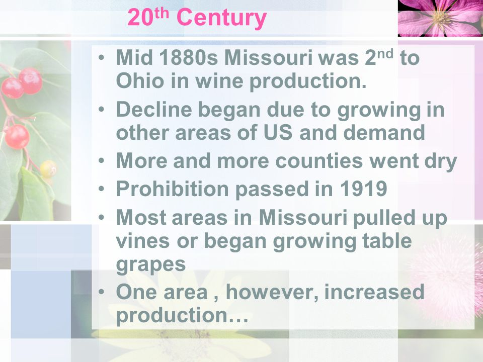 20 th Century Mid 1880s Missouri was 2 nd to Ohio in wine production. Decline began due to growing in other areas of US and demand More and more count