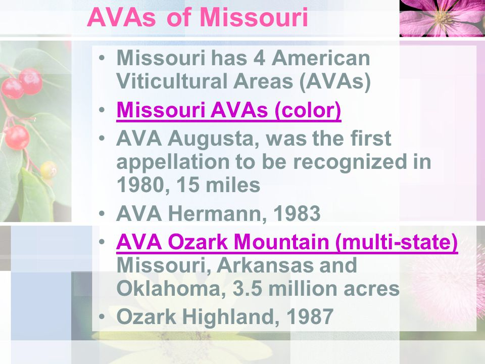 AVAs of Missouri Missouri has 4 American Viticultural Areas (AVAs) Missouri AVAs (color) AVA Augusta, was the first appellation to be recognized in 19