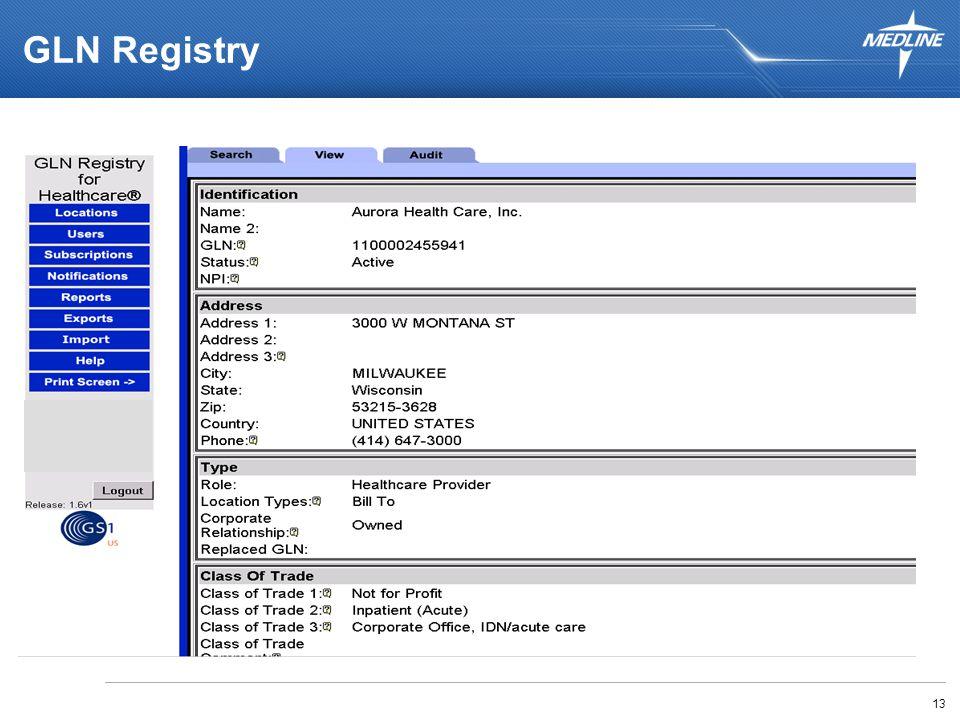 13 GLN Registry GLN USPS Address Standards Location Type & Hierarchy