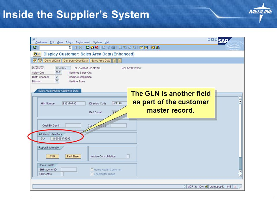 Inside the Supplier's System The GLN is another field as part of the customer master record.