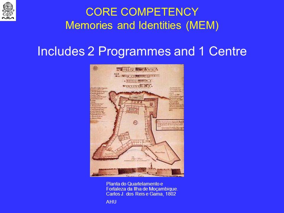CORE COMPETENCY Memories and Identities (MEM) Includes 2 Programmes and 1 Centre Planta do Quartelamento e Fortaleza da Ilha de Moçambique.