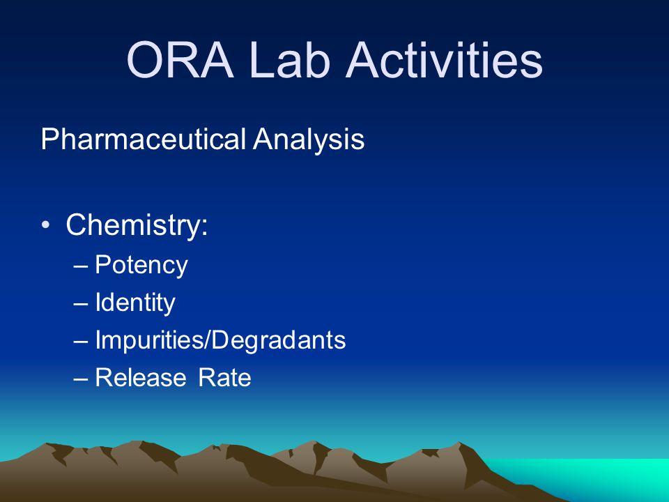 ORA Lab Activities Pharmaceutical Analysis Chemistry: –Potency –Identity –Impurities/Degradants –Release Rate