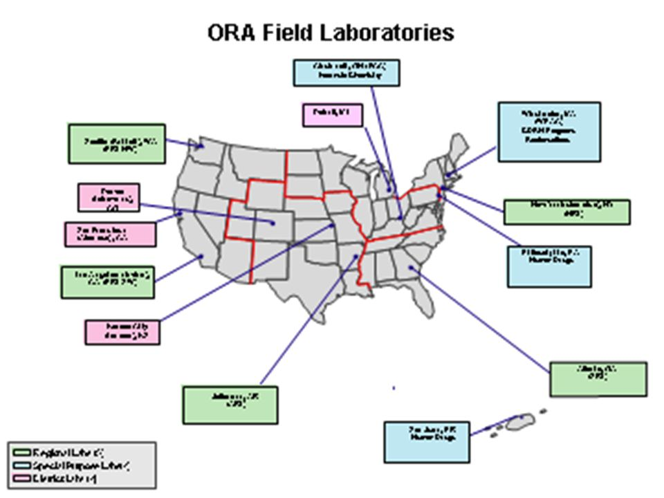 ORA Lab Types Specialty Labs Philadelphia District (Pharmaceuticals) San Juan District (Pharmaceuticals) Winchester Engineering and Analytical Center (WEAC: Winchester, MA) (Engineering, Radio nuclides) Forensic Chemistry Center (FCC, Cincinnati) (criminal analysis support)