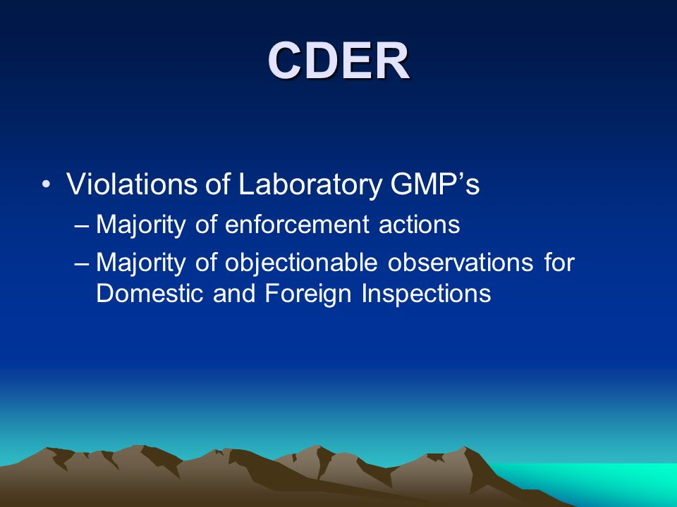 CDER Violations of Laboratory GMP's –Majority of enforcement actions –Majority of objectionable observations for Domestic and Foreign Inspections