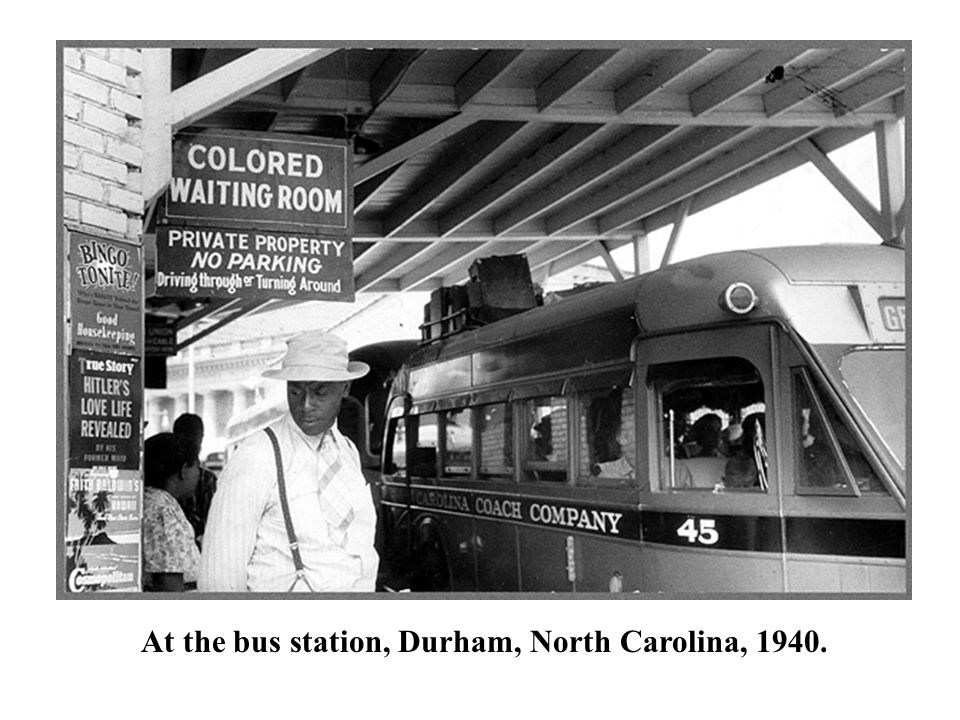At the bus station, Durham, North Carolina, 1940.
