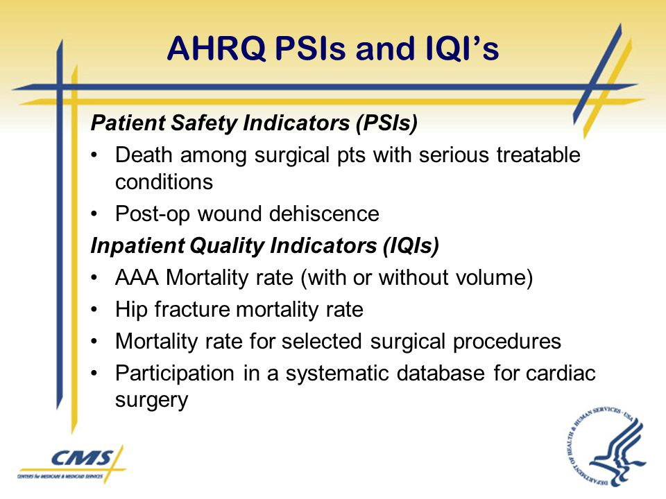 AHRQ PSIs and IQI's Patient Safety Indicators (PSIs) Death among surgical pts with serious treatable conditions Post-op wound dehiscence Inpatient Qua