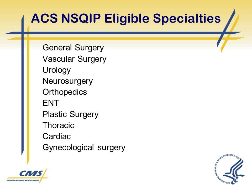 ACS NSQIP Eligible Specialties General Surgery Vascular Surgery Urology Neurosurgery Orthopedics ENT Plastic Surgery Thoracic Cardiac Gynecological su