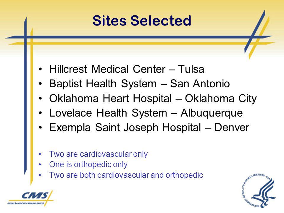 Sites Selected Hillcrest Medical Center – Tulsa Baptist Health System – San Antonio Oklahoma Heart Hospital – Oklahoma City Lovelace Health System – A