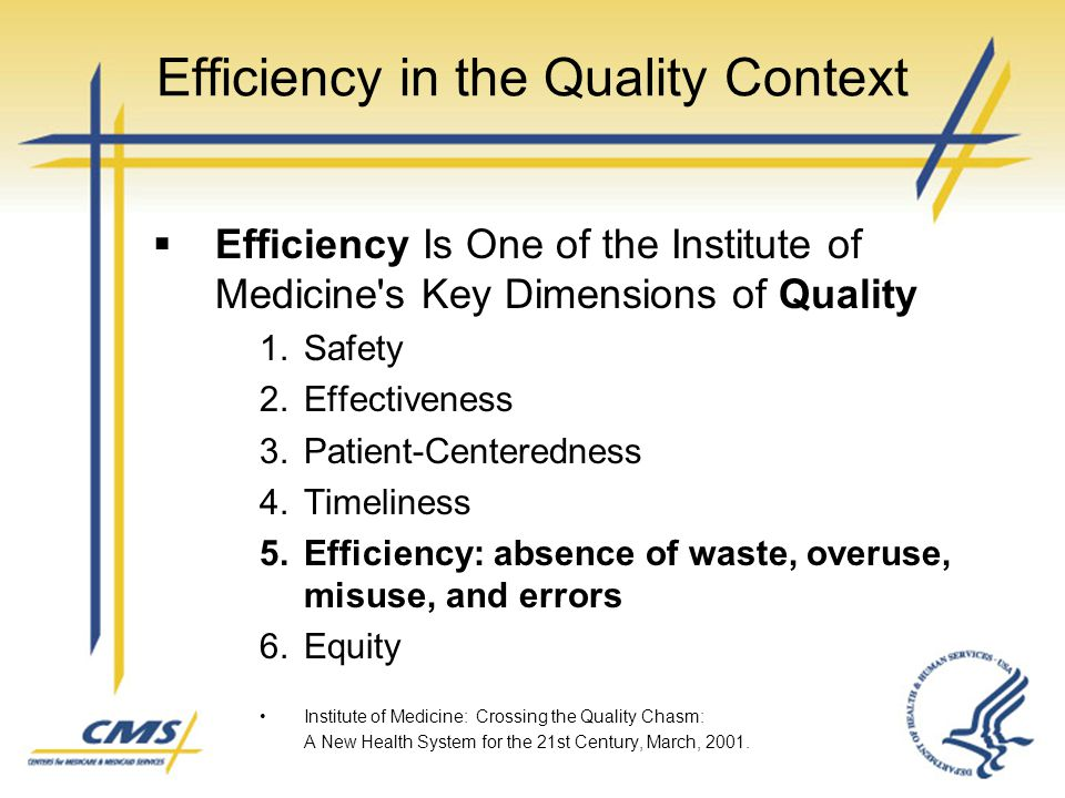 Efficiency in the Quality Context  Efficiency Is One of the Institute of Medicine's Key Dimensions of Quality 1.Safety 2.Effectiveness 3.Patient-Cent