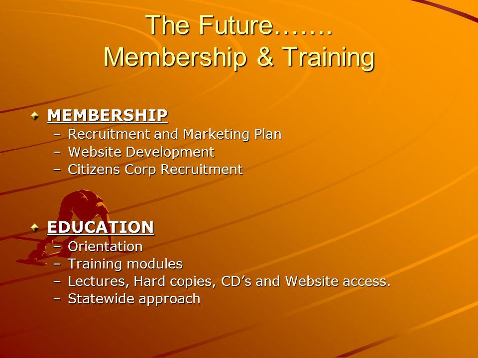 The Future……. Membership & Training MEMBERSHIP –Recruitment and Marketing Plan –Website Development –Citizens Corp Recruitment EDUCATION –Orientation