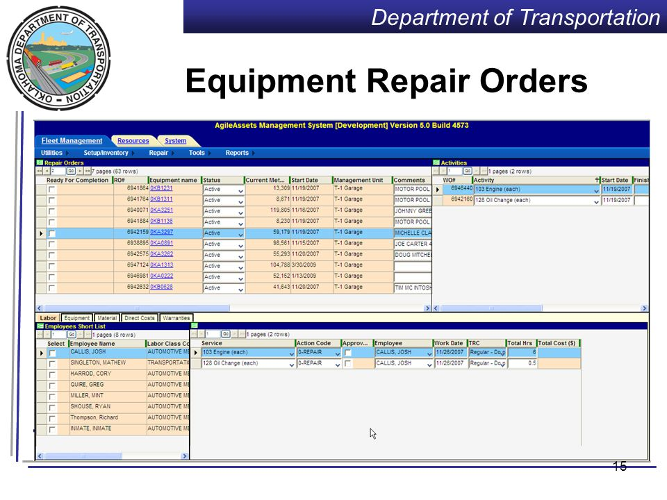 Department of Transportation 14 Equipment Inventory