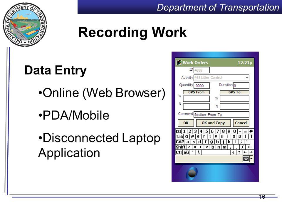 Department of Transportation 15 Equipment Repair Orders