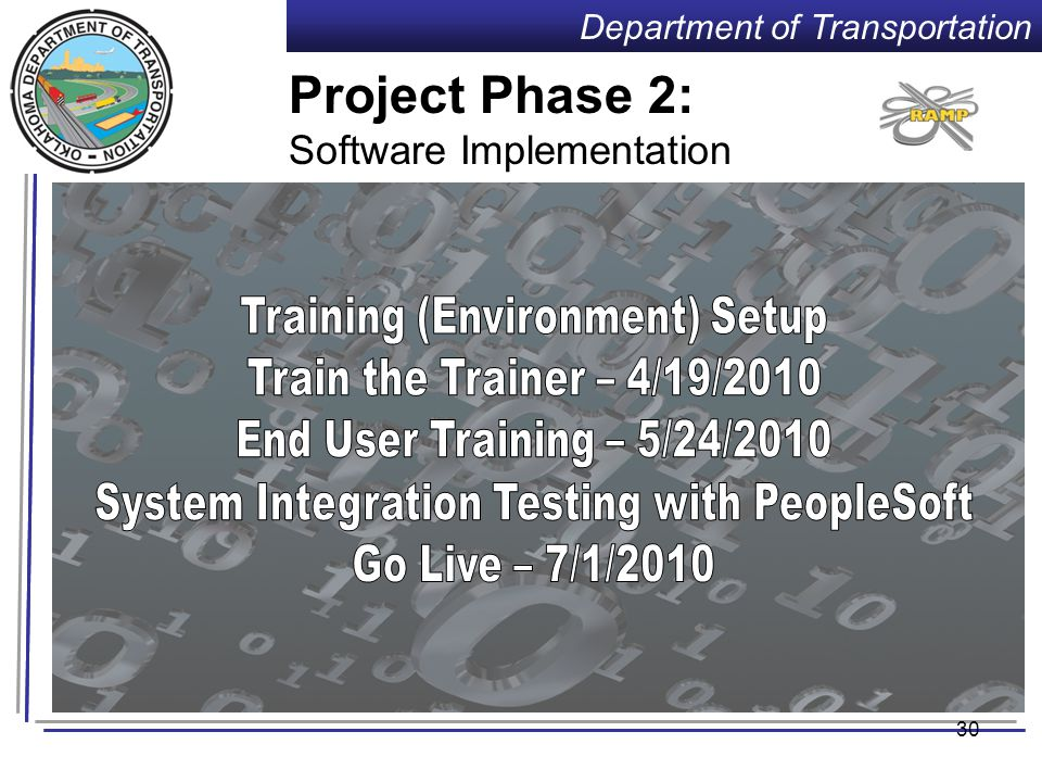 Department of Transportation 29 Project Phase 1 cont'd: Software Reconciliation