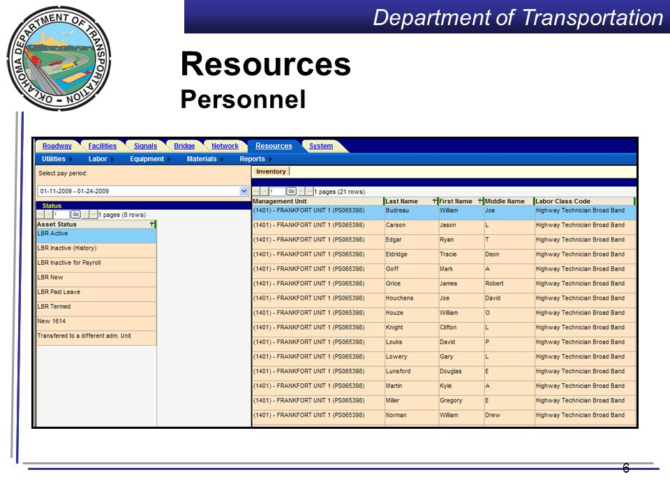 Department of Transportation Training Requirements Agile Assets Training: (T.T.T.)  2 people from each FD become trainers in each of 3 modules.