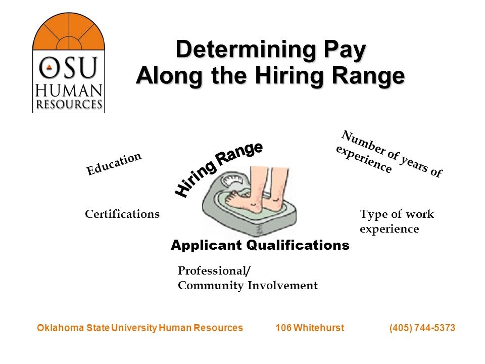 Oklahoma State University Human Resources 106 Whitehurst (405) 744-5373 Determining Pay Along the Hiring Range Applicant Qualifications Education Certifications Number of years of experience Type of work experience Professional/ Community Involvement