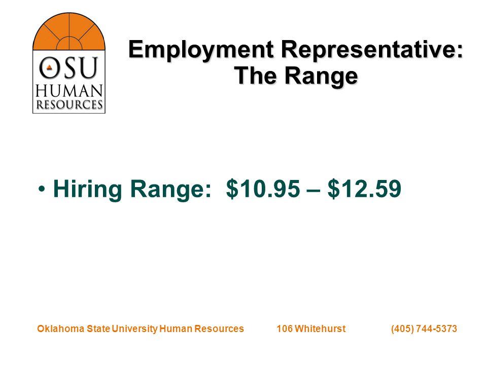 Oklahoma State University Human Resources 106 Whitehurst (405) 744-5373 Employment Representative: The Range Hiring Range: $10.95 – $12.59