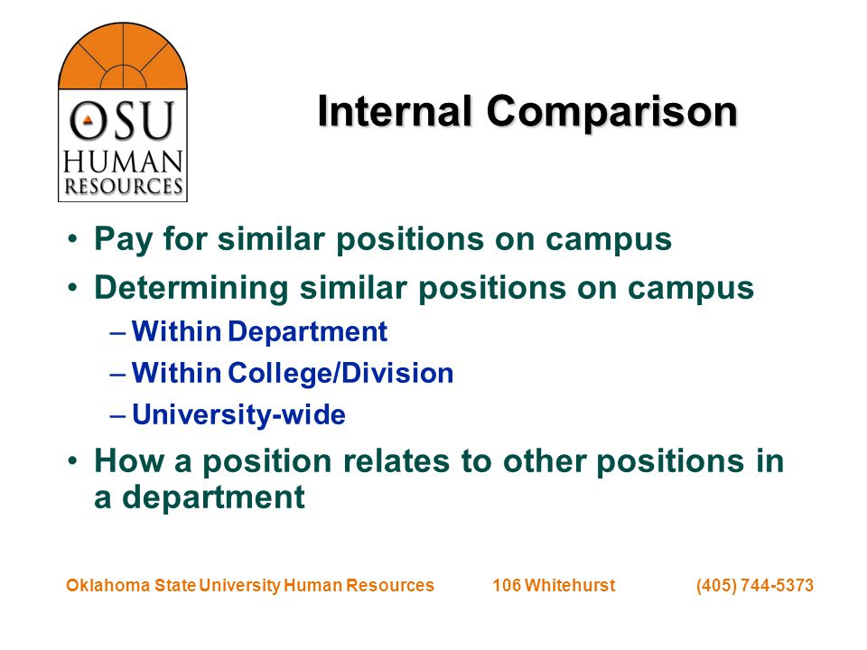 Oklahoma State University Human Resources 106 Whitehurst (405) 744-5373 Value Added How critical is the position to your mission.