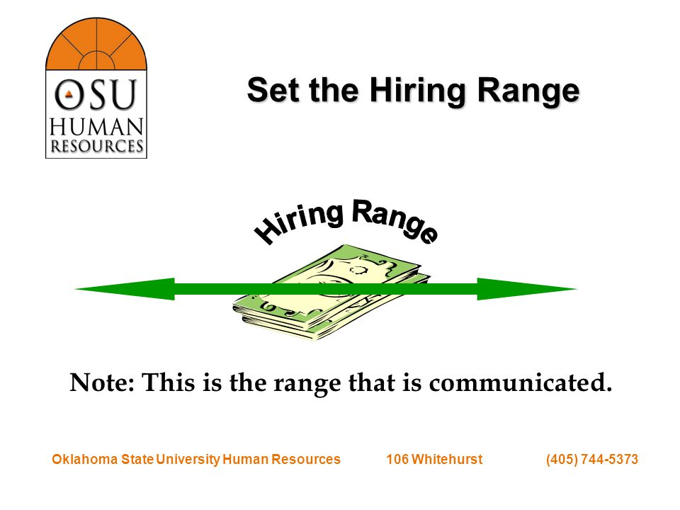 Oklahoma State University Human Resources 106 Whitehurst (405) 744-5373 Recruit for Position Post the position Review applications Request diversity information Interview applicants Check references Identify candidate you want to hire