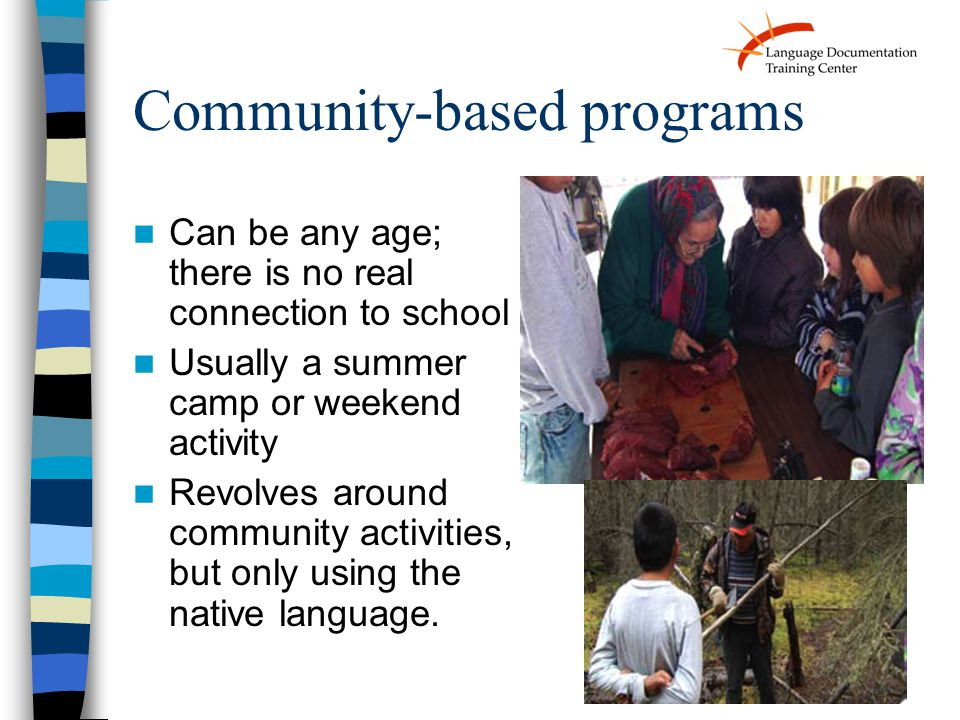Community-based programs Can be any age; there is no real connection to school Usually a summer camp or weekend activity Revolves around community act
