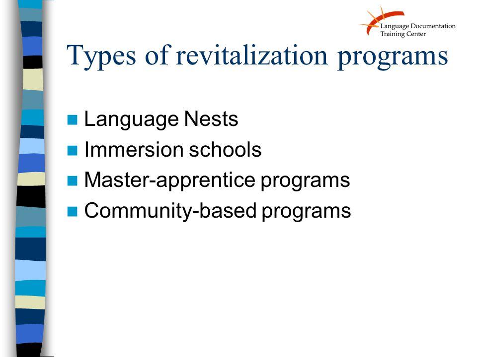 Types of revitalization programs Language Nests Immersion schools Master-apprentice programs Community-based programs