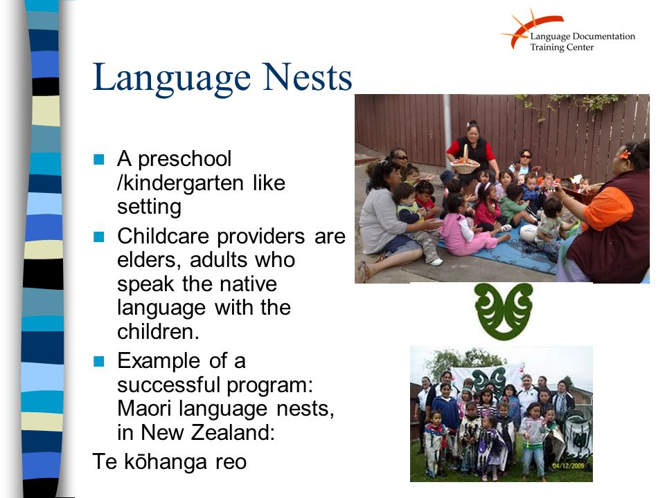 Language Nests A preschool /kindergarten like setting Childcare providers are elders, adults who speak the native language with the children.