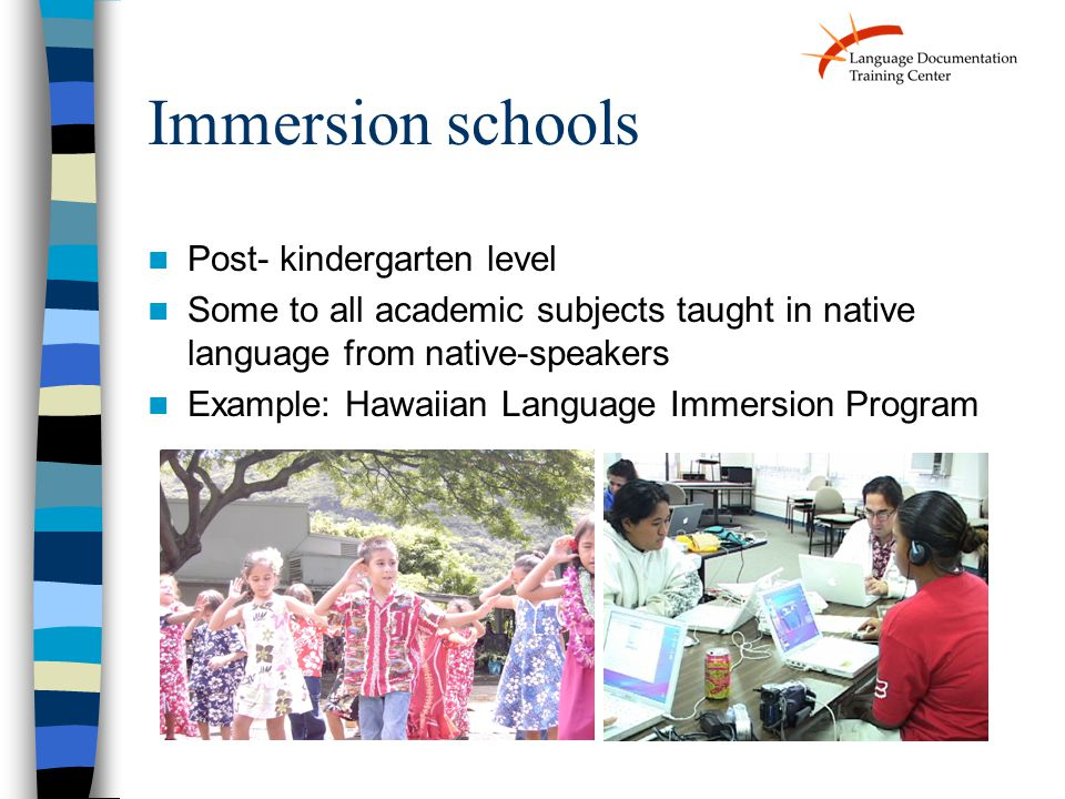 Immersion schools Post- kindergarten level Some to all academic subjects taught in native language from native-speakers Example: Hawaiian Language Immersion Program