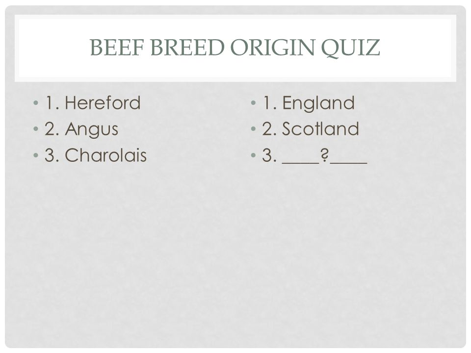 BEEF BREED ORIGIN QUIZ 1. Hereford 2. Angus 1. England 2. _____ _____