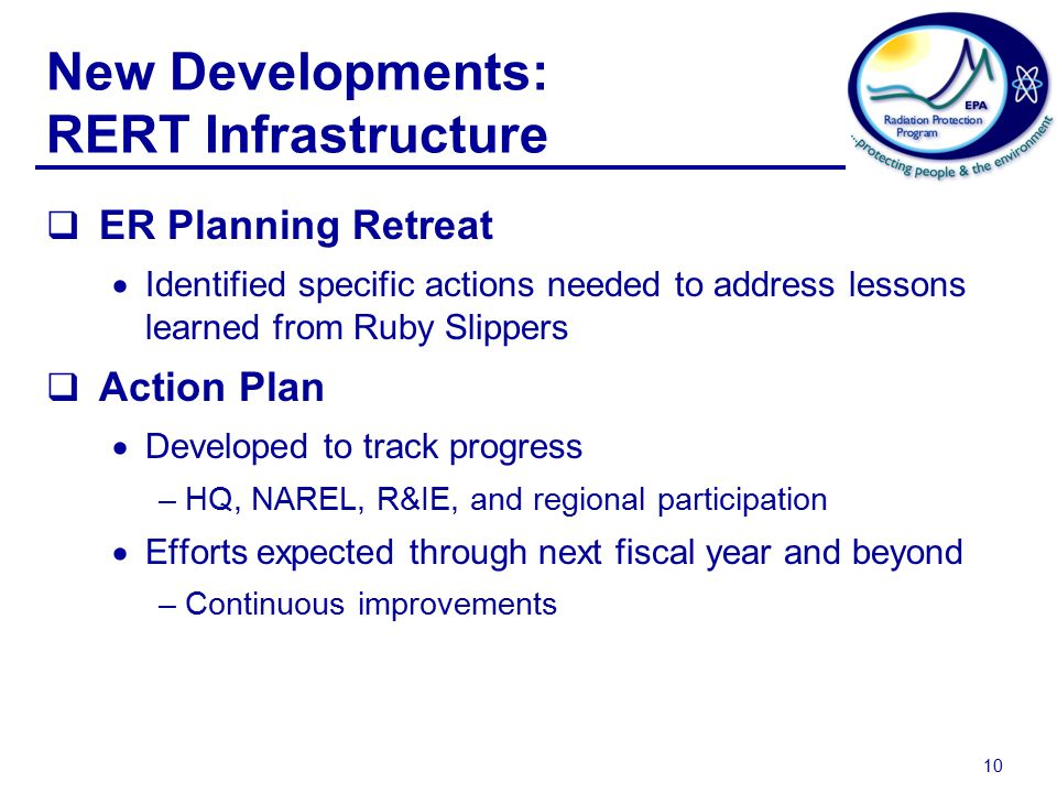 10 New Developments: RERT Infrastructure  ER Planning Retreat  Identified specific actions needed to address lessons learned from Ruby Slippers  Action Plan  Developed to track progress –HQ, NAREL, R&IE, and regional participation  Efforts expected through next fiscal year and beyond –Continuous improvements