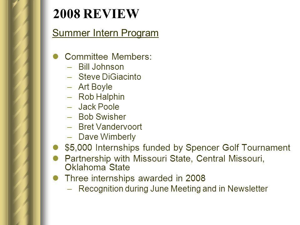 2008 REVIEW Summer Intern Program Committee Members: –Bill Johnson –Steve DiGiacinto –Art Boyle –Rob Halphin –Jack Poole –Bob Swisher –Bret Vandervoor