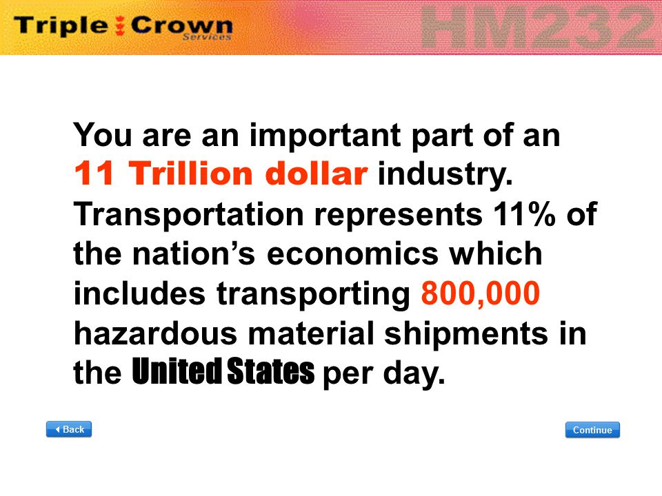 You are an important part of an 11 Trillion dollar industry. Transportation represents 11% of the nation's economics which includes transporting 800,0