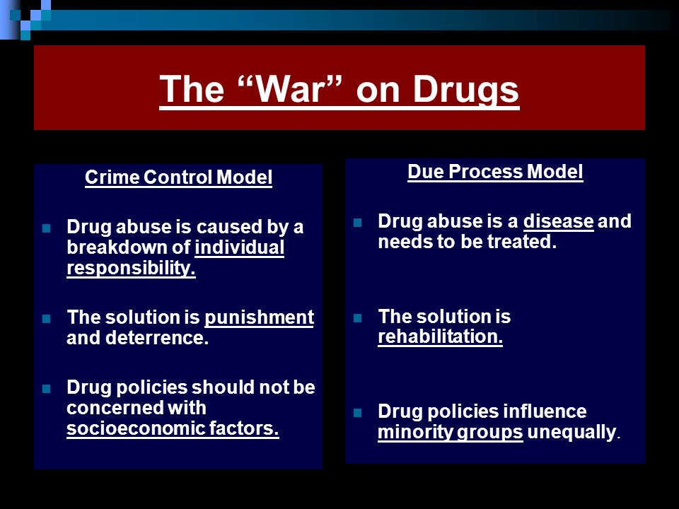 "The ""War"" on Drugs Crime Control Model Drug abuse is caused by a breakdown of individual responsibility. The solution is punishment and deterrence. Dr"
