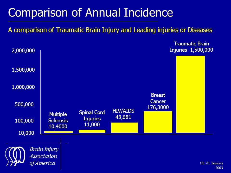 Brain Injury Association of America SS 20 January 2003 Comparison of Annual Incidence A comparison of Traumatic Brain Injury and Leading injuries or Diseases 2,000,000 1,500,000 1,000,000 500,000 100,000 10,000 Multiple Sclerosis 10,4000 Spinal Cord Injuries 11,000 HIV/AIDS 43,681 Breast Cancer 176,3000 Traumatic Brain Injuries 1,500,000