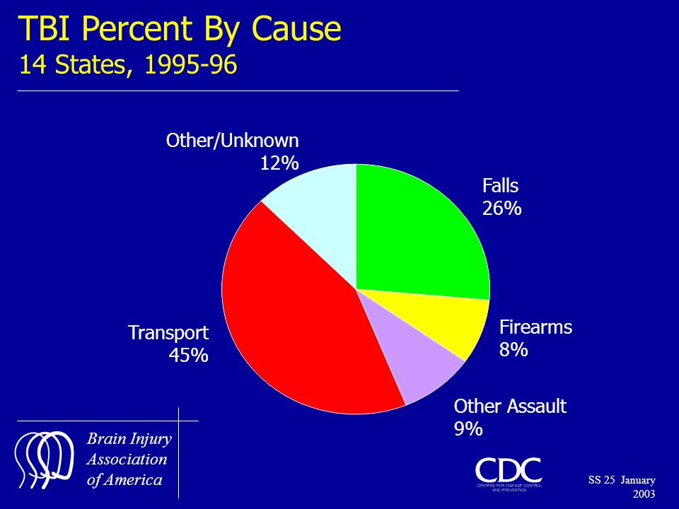 Brain Injury Association of America SS 25 January 2003 TBI Percent By Cause 14 States, 1995-96 Falls 26% Firearms 8% Other Assault 9% Transport 45% Other/Unknown 12%