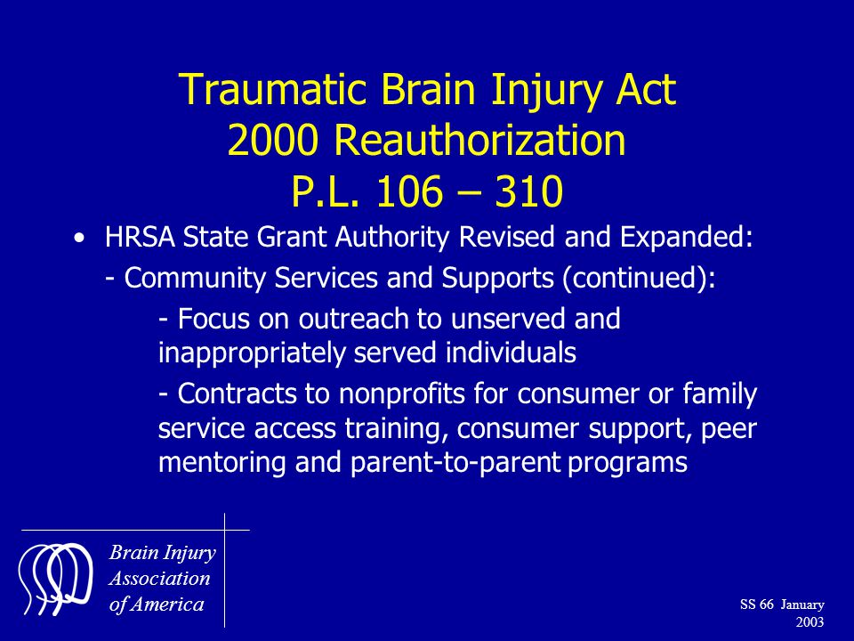 Brain Injury Association of America SS 66 January 2003 Traumatic Brain Injury Act 2000 Reauthorization P.L.
