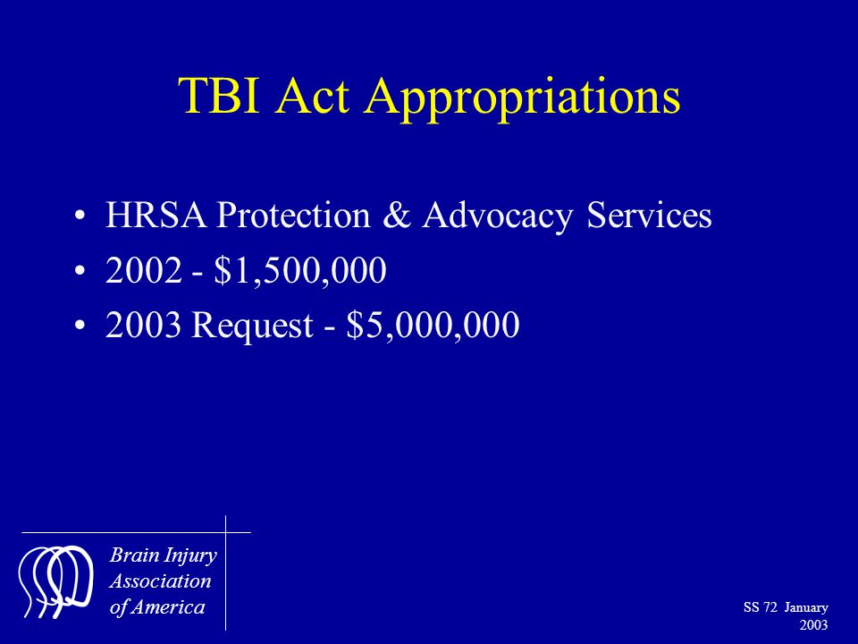 Brain Injury Association of America SS 72 January 2003 TBI Act Appropriations HRSA Protection & Advocacy Services 2002 - $1,500,000 2003 Request - $5,000,000