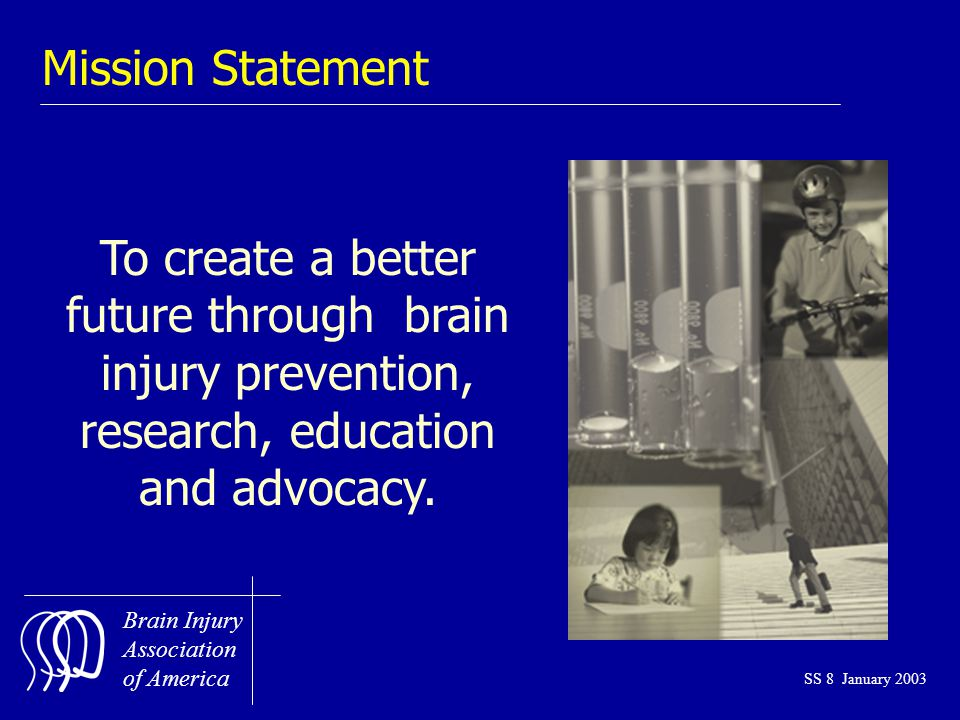 Brain Injury Association of America SS 8 January 2003 To create a better future through brain injury prevention, research, education and advocacy.