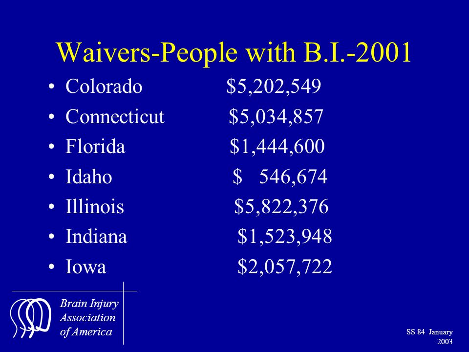 Brain Injury Association of America SS 84 January 2003 Waivers-People with B.I.-2001 Colorado $5,202,549 Connecticut $5,034,857 Florida $1,444,600 Idaho $ 546,674 Illinois $5,822,376 Indiana $1,523,948 Iowa $2,057,722