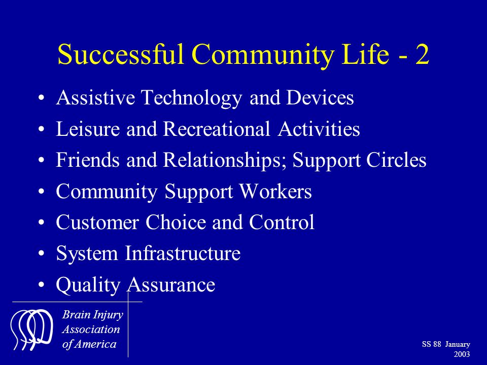 Brain Injury Association of America SS 88 January 2003 Successful Community Life - 2 Assistive Technology and Devices Leisure and Recreational Activities Friends and Relationships; Support Circles Community Support Workers Customer Choice and Control System Infrastructure Quality Assurance